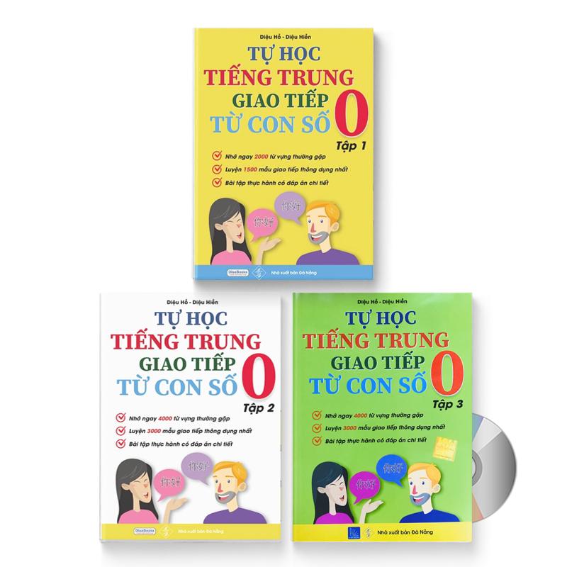 Combo 3 sách: Tự Học Tiếng Trung Giao Tiếp Từ Con Số 0 Tập 1 & 2 & 3 + DVD quà tặng