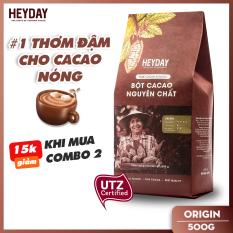 Bột cacao nguyên chất không đường Heyday – Origin 18% bơ cacao tự nhiên – Túi 500g – Chứng nhận UTZ – Hỗ trợ giảm cân – Keto – Vị socola nguyên bản – Không hương liệu, phụ gia