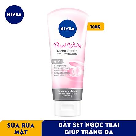 Sữa rửa mặt NIVEA Pearl White Đất Sét giúp trắng da ngọc trai (100g) – 81273