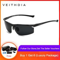 VEITHDIA Aluminum Magnesium Rimless Men's Sunglasses Polarized Sun Glasses Eyewear Accessories For Men 6587