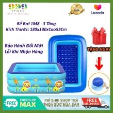 Bể bơi phao 3 tầng kích thước 1M8 ( 180x130xCao55Cm ) cho bé, hàng loại 1 có đáy chống trơn trượt, an toàn khi sử dụng tặng kèm miếng vá bể