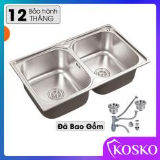 Chậu rửa bát inox 304 Kosko kích thước 78x43cm hố to đã bao gồm bộ xả xiphong thoát nước (Bảo hàng 12 tháng – 1 đổi 1 trong vòng 7 ngày) Chưa có vòi rửa, chậu rửa chén, bồn rửa chén