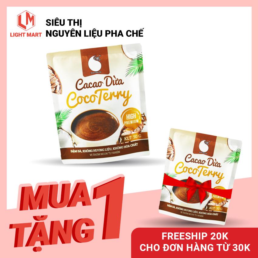 [MUA 1 TẶNG 1] Cacao sữa dừa CocoTerry Light coffee, thơm cacao, béo vị dừa- Gói 50gr