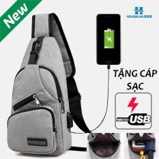 [ Có cổng nối TẶNG cáp sạc tiện lợi ] Túi đeo chéo nam da cao cấp có cổng sạc USB và lỗ tai nghe thời trang