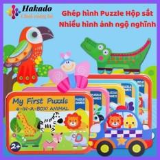 Ghép hình Puzzle 6 trong 1 mảnh gỗ hộp sắt loại đẹp gồm 5 chủ đề khác nhau
