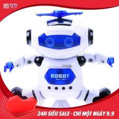 Đồ chơi Robot nhảy múa xoay 360 độ có đèn và nhạc phiên bản mới cao cấp màu trắng xanh