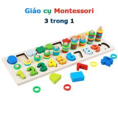 Giáo cụ Montessori đồ chơi trẻ em nhận biết hình dạng hình khối số và tập đếm cho bé từ 3 4 5 6 tuổi