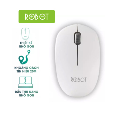 Chuột không dây ROBOT M210 2.4GHz Khoảng cách tín hiệu 20m công nghệ cảm biến quang học 1600DPI l HÀNG CHÍNH HÃNG