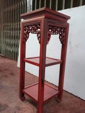Đôn vuông 2 tầng gỗ cẩm vàng kích thước cao 80 cm, đường kính mặt 30 cm