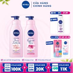Bộ đôi Sữa Dưỡng Thể Dưỡng Trắng NIVEA Hương Hoa Hồng Radiant Rose (350ml) – 85707 & Anh Đào Dewy Sakura (350ml) – 85703
