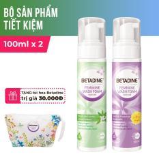 Bộ 2 bọt vệ sinh phụ nữ Betadine 100ml (Tím và Xanh) + Tặng túi hoa Betadine
