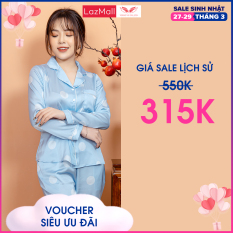Đồ bộ mặc nhà pijama nữ dài Lụa Pháp họa tiết chấm bi nhiều màu dịu dàng hàng thiết kế Vingo VNGO H260