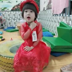 Set bộ áo dài cách tân ren cao cấp mấn kép cho bé gái từ 12kg đến 26kg( màu đỏ, kem)