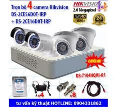 Trọn bộ 4 camera 2.0MP DS-2CE56D0T-IRP + DS-2CE16D0T-IRP + DS-7104HQHI-K1+ổ cứng 500Gb