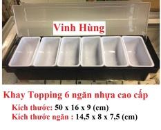khay đựng topping nhựa 6 ngăn kích thước 50x16x10 cm