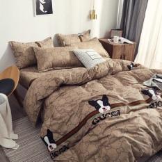 Bộ chăn ga gối cotton nhập khẩu – Mẫu chó Gucci, cam kết hàng đúng mô tả, chất lượng đảm bảo an toàn đến sức khỏe người sử dụng