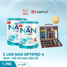 Bộ 2 lon sữa bột Nestle NAN Optipro 4 HM-O cho trẻ trên 2 tuổi 1.7kg + Tặng 1 bộ chì màu hộp gỗ trị giá 400K (mẫu mới)