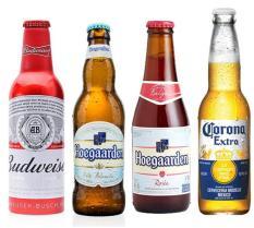 Combo 4 loại bia nhập khẩu (Hoegaarden White, Rosee, Budweiser, Corona)