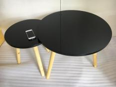 BSF – Cặp bàn tròn đen 60-40, bàn trà, bàn cafe, cà phê, phòng khách, bàn cafe, bàn coffee, bàn gỗ phòng khách, bàn gấp xếp