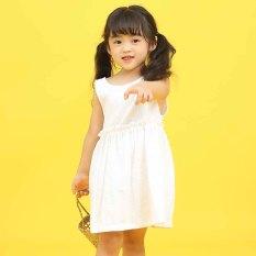 TANOSA KIDS Váy Cho Bé Gái Dáng Xòe Chất Đũi Xinh Xắn Màu Hồng Màu Trắng
