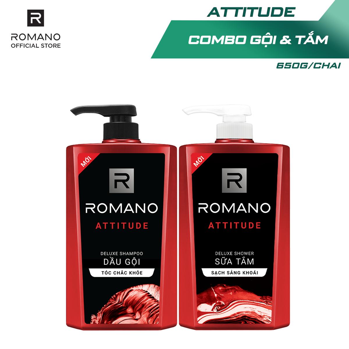 [Follow Shop -10k] Combo Dầu gội và Sữa tắm cao cấp Romano Attitude sang trọng đẳng cấp 650gr