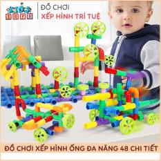 Đồ chơi xếp hình, lắp ráp ống nước 48 chi tiết, kích thích tư duy, tăng khả năng sáng tạo cho bé.