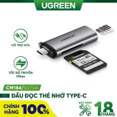 Đầu đọc thẻ USB type C với 2 khe thẻ cắm SD và TF hỗ trợ chức năng OTG UGREEN CM184 CM185 – Hàng phân phối chính hãng – Bảo hành 18 tháng