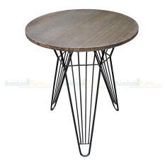 Bàn CafeBamboo tròn 60cm màu nâu chân sắt Lap