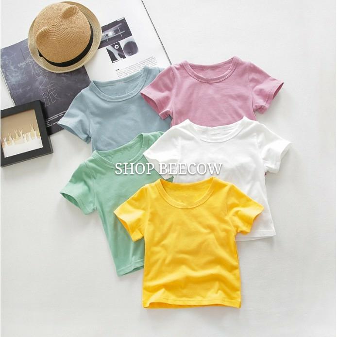 [MÀU NGẪU NHIÊN] Áo Thun Cotton Kiểu Dáng Basic Cho Bé Trai/Gái 8-18kg
