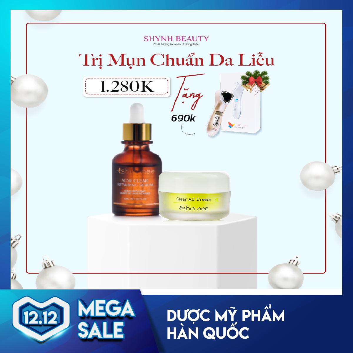 Combo Trị Mụn Chuẩn Da Liễu gồm Serum Acne Repairing + Kem Trị Mụn ShinNee Clear Acne Cream (Tặng Voucher Giảm 20%)