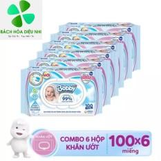 Combo Bộ 6 gói khăn giấy ướt trẻ em Bobby Care Nano Bạc Kháng Khuẩn không mùi hương 100 miếng – Giá Rẻ