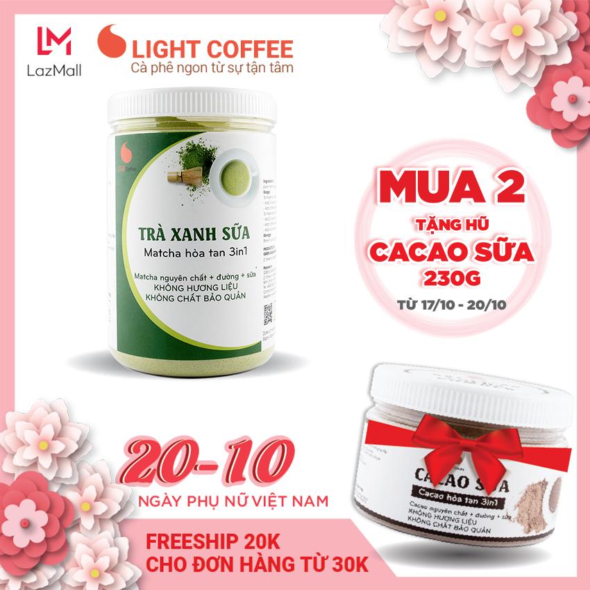 [MUA 2 TẶNG CACAO SỮA 230G] Bột trà xanh sữa 3in1, matcha xuất xứ Nhật Bản, hũ 550g, từ nhà sản xuất Light Coffee