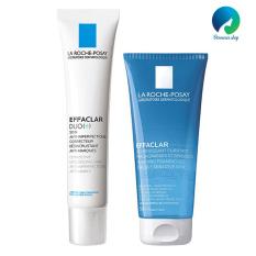 Combo kem dưỡng da giảm mụn viêm và thâm mụn La Roche Posay Effaclar Duo(+) 40ml và Gel rửa mặt dành cho da dầu mụn Effaclar Gel 50ml – DMCMP022