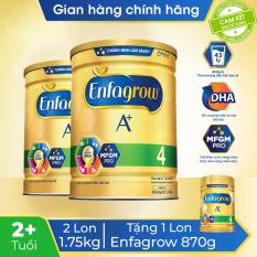 [Freeship 30K Toàn Quốc] Bộ 2 lon sữa bột Enfagrow 4 cho trẻ trên 2 tuổi 1.75kg – Tặng 1 lon Enfagrow 4 870g – Cam kết HSD còn ít nhất 10 tháng