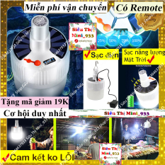 Bóng đèn tích điện có sạc Năng Lượng Mặt Trời dạng LED kèm Remote điều khiển từ xa 5 chế độ chiếu sáng có móc treo dùng khi mất điện đi du lịch bán hàng rong và ăn uống ngoài trời