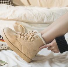 Boot nữ cao cổ – Bốt nữ lót lông đi du lịch ấm áp – Boots mùa đông buộc dây trẻ trung – Bốt nữ đẹp – Thuyleo