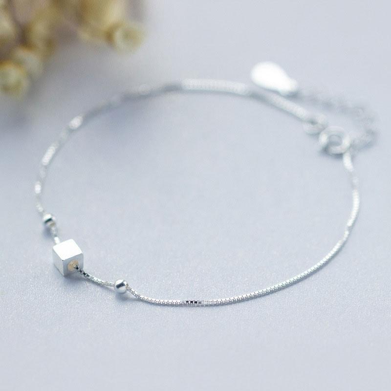 Lắc Chân Bạc Nữ Bi Bạc Vuông LC1541 Bảo Ngọc Jewelry