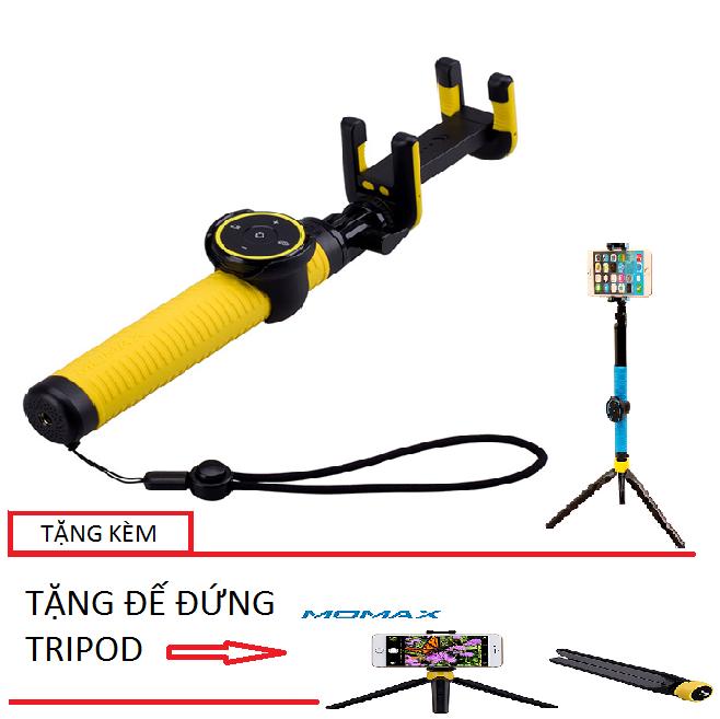 Gậy Selfie Momax Cam Selfie Hero 150cm cho iPhone (vàng) + Tặng 1 đế đứng Tripod
