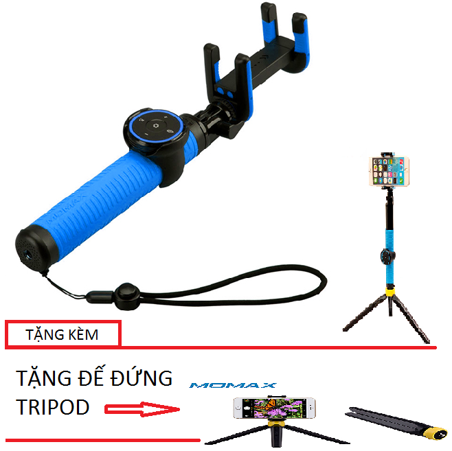 Gậy Selfie Momax Cam Selfie Hero 150cm cho iPhone (Xanh Dương) + Tặng 1 đế đứng Tripod
