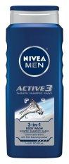 Gel tắm, gội, cạo râu 3 trong 1 NIVEA Men Active3 3-in-1 Body Wash 500ml