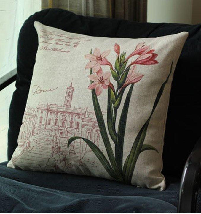 Gối trang trí sofa 3d họa tiết hoa loa kèn
