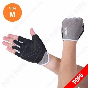 Găng tay tập GYM, mềm mai ôm cổ tay (GREY-M) găng tay nâng tạ, găng tay xe đạp độ bám cao, thoáng khí, thoát mồ hôi, mềm mại POPO Sports
