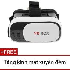 Kính xem phim 3D VR Box ver 2.0 (Đen) + Tặng kính mát xuyên đêm