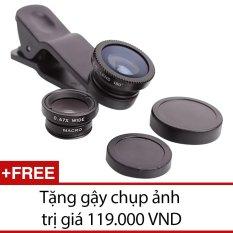 Lens chụp hình cho điện thoại Universal Clip Lens (Đen) + Tặng 1 gậy chụp ảnh