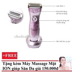 Máy cạo lông toàn thân Kemei + Tặng Máy massage mặt DS-039 bằng ion (Trắng)