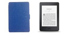 Bộ Máy đọc sách AMAZON Kindle Paperwhite 2015 (Đen) + bao da (Xanh đậm)