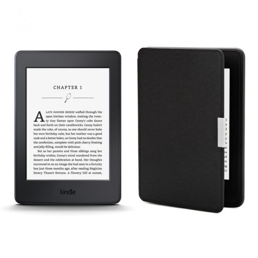Máy đọc sách Kindle Paperwhite 2017 và Bao da (Đen)