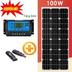 tấm pin năng lượng mặt trời Mono 100w + Tặng kèm điều khiển sạc 30A + jack mc4