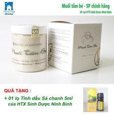 Muối tắm bé 400gr, Muối tắm thảo dược Sinh Dược Ninh Bình + Tặng 01 Tinh dầu 5ml (Tràm hoặc Sả chanh) -Hong Nga baby