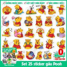 Set 30 sticker hình dán chống nước chủ đề gấu vàng Pooh dễ thương đáng yêu dán điện thoại, dán laptop, nón bao hiểm,…